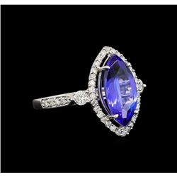 14KT White Gold 2.61 ctw Tanzanite and Diamond Ring