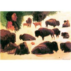 Study of Buffalos by Albert Bierstadt