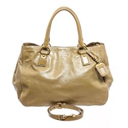 Prada Beige Patent Leather Expandable Two-Way Shoulder Bag