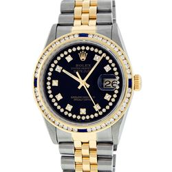Rolex Mens 2 Tone Black String Diamond & Sapphire Diamond Datejust Wristwatch