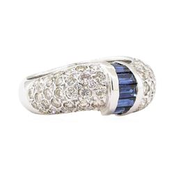 2.55 ctw Sapphire And Diamond Ring - 14KT White Gold