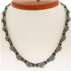 """Judith Jack 16"""" Sterling Silver Marcasite Flower Cluster Chain Necklace w/ Box"""