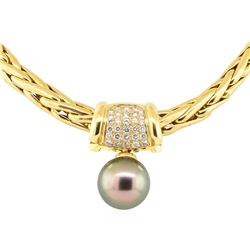 0.50 ctw Diamond and Pearl Pendant And Chain - 18KT Yellow Gold