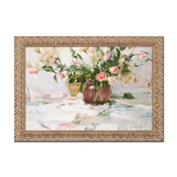 "Dan Gerhartz, ""Roses and Thistle"" Framed Limited Edition on Canvas, AP Numbered"