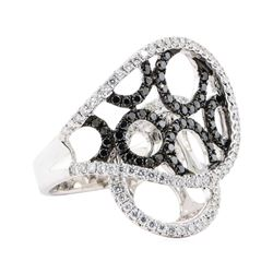 1.17 ctw Black and White Diamond Ring - 18KT White Gold