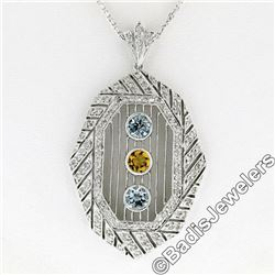 18kt White Gold 2.15 ctw Aquamarine, Citrine, & Diamond Open Milgrain Pendant Ne
