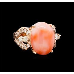 5.68 ctw Pink Coral and Diamond Ring - 14KT Rose Gold