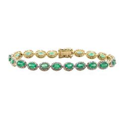 8.51 ctw Emerald and Diamond Bracelet - 14KT Yellow Gold
