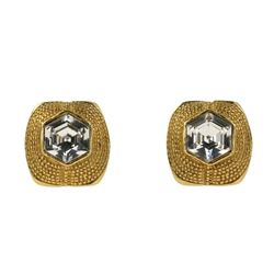 Chanel Gold Vintage Crystal Clip On Earrings