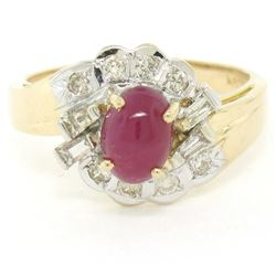 14kt White and Yellow Gold Cabochon Ruby and Diamond Ring