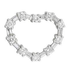 14k White Gold 0.75CTW Diamond Pendant, (G-H)