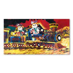 "Paul Blaine Henrie (1932-1999), ""Choo-Choo Children"" Hand Signed Original Painti"