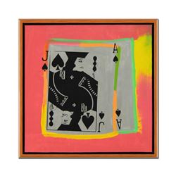 """Steve Kaufman (1960-2010), """"Jack and Ace"""" Framed Hand Painted, Hand Pulled Limit"""