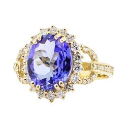 4.21 ctw Tanzanite And Diamond Ring - 14KT Yellow Gold