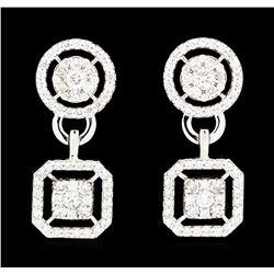 1.52 ctw Diamond Earrings - 14KT White Gold