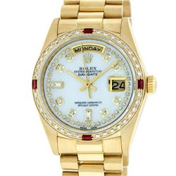 Rolex Mens 18K Yellow Gold MOP String Diamond & Ruby Quickset President Wristwat