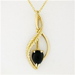 14kt Yellow Gold Pear Cabochon Black Onyx Open Pendant Necklace