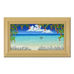 "Dan Mackin, ""Colorful Relaxing"" Framed Original Oil Painting on Canvas Hand Sign"