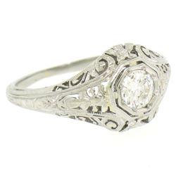 18k White Gold Filigree 0.41 ctw European Cut Diamond Ring