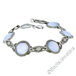 Antique Art Deco 14kt White Gold Blue Moonstone Etched Filigree Bracelet