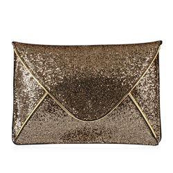 Black and Metallic Gold Evening Envelope Clutch