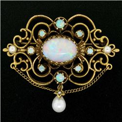 Vintage 14kt Yellow Gold 4.50 ctw Opal and Pearl Open Work Brooch Pin or Pendant