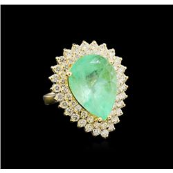 GIA Cert 9.78 ctw Emerald and Diamond Ring - 14KT Yellow Gold