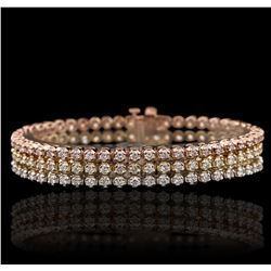 14KT Three-Tone Gold 6.54 ctw Diamond Bracelet