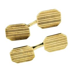 Art Deco 14kt Yellow Gold Grooved Dual Rectangular Panel Cuff Links