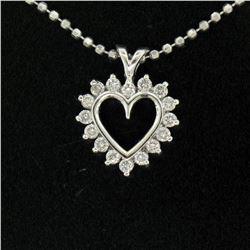 "14k White Gold 0.40 ctw Round Brilliant Diamond Open Heart Pendant 18"" Bead Chai"