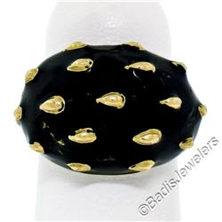 Vintage 18kt Yellow Gold Black Enamel Raised Dot Wide Domed Cocktail Ring