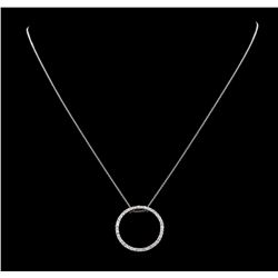 0.50 ctw Diamond Circle Pendant with Chain - 18KT White Gold