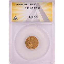 1911-D $2.5 Indian Head Quarter Eagle Gold Coin ANACS AU55
