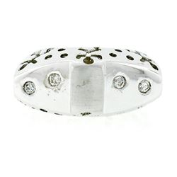New 18kt White Gold 0.16 ctw Burnish Round Diamond Pierced Sides Band Ring