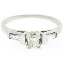 14k White Gold 0.66 ctw Princess Diamond Engagement Ring Tapered Baguette Accent