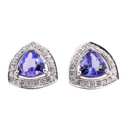 1.79 ctw Tanzanite and Diamond Earrings - 14KT White Gold