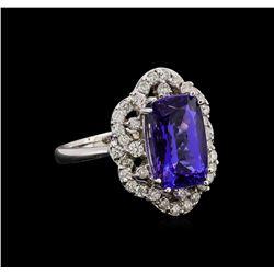 14KT White Gold 4.71 ctw Tanzanite and Diamond Ring