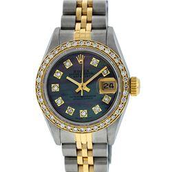 Rolex Ladies 2 Tone Tahitian MOP Diamond Oyster Perpetual Datejust Wristwatch