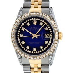 Rolex Mens 2 Tone Blue Vignette String Diamond Lugs Datejust Wristwatch