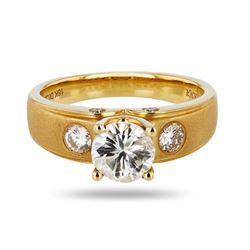 0.97 ctw SI2 Diamond 18K Yellow Gold Unity Ring (1.26 ctw Diamonds)