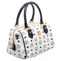 MCM Navy & White Vintage Visetos Coated Canvas Leather Boston Bag