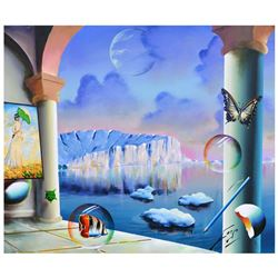 """Ferjo, """"Glacier View"""" Original Painting on Canvas, Hand Signed with Letter of Au"""