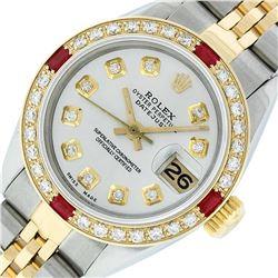 Rolex Ladies 2 Tone Silver Diamond & Ruby Datejust Wristwatch