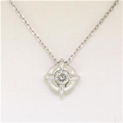 14kt White Gold 0.20 ctw Diamond Solitaire Pendant Necklace
