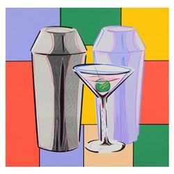 """Steve Kaufman (1960-2010), """"Martini"""" Hand Embellished Limited Edition Hand Pulle"""