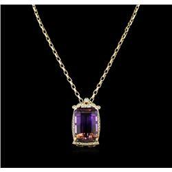 14KT Yellow Gold 73.39 ctw Ametrine & Diamond Pendant with Chain