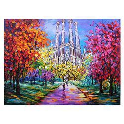 """Yana Rafael, """"A Day in Barcelona"""" Hand Signed Original Painting on Canvas with C"""