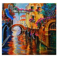 "Yana Rafael, ""Romantic City"" Hand Signed Original Painting on Canvas with COA."
