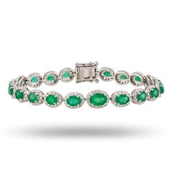 7.50 ctw Emerald and 2.42 ctw Diamond 18K White Gold Bracelet