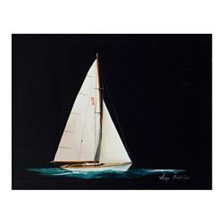 "Alex Blokhin, ""Small One Masted Yacht"" Original Oil Painting on Canvas, Hand Sig"